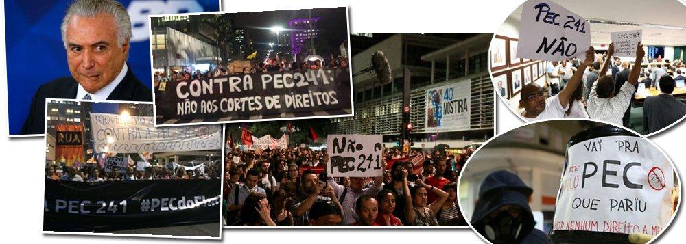 Pesquisa realizada pelo instituto Vox Populi aponta que a proposta de emenda à constituição apresentada pelo governo de Michel Temer, que prevê o congelamento de gastos públicos por 20 anos, é rejeitada por 70% dos brasileiros; quanto à reforma da Previdência, a rejeição é ainda maior: 80% dos trabalhadores do campo e da cidade são contra a proposta que prevê idade mínima de 65 anos para se aposentar; Temer é mal avaliado por 74% dos brasileiros; só 11% consideram o governo de maneira positiva e 15% não sabem ou não responderam; pesquisa foi realizada com 2 mil pessoas entre 9 e 13 de outubro