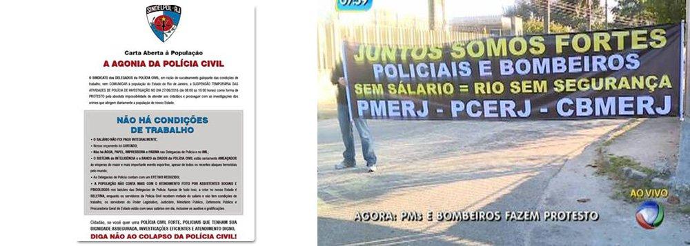 Delegados da Polícia Civil do Rio de Janeiro fazem uma paralisação de oito horas para protestar pelo pagamento integral de salários e por melhores condições de trabalho; de acordo com o Sindicato dos Delegados de Polícia do Estado do Rio de Janeiro (Sindelpol), a manifestação deve se estender até as 16h; aém do atraso e não pagamento integral dos salários, de acordo com o Sindelpol, as condições de trabalho desses profissionais são precárias