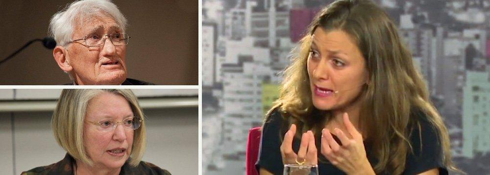 """Intelectuais brasileiros e estrangeiros repudiam o afastamento da presidente Dilma Rousseff em um manifesto assinado por nomes como os fisólofos alemães Jürgen Habermas, Axel Honneth e Rainer Forst, a filósofa feminista norte-americana Nancy Fraser e o filósofo canadense Charles Taylor; segundo a professora de Filosofia Política da Unicamp Yara Frateschi, uma das autoras do manifesto, apoio dos intelectuais estrangeiros à democracia no Brasil """"explicita o que parte significativa dos acadêmicos e intelectuais brasileiros não fez (a condenação ao golpe). Eles (brasileiros) silenciaram diante do golpe"""""""