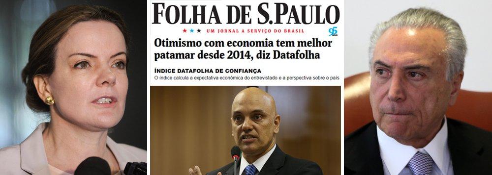 """Senadora Gleisi Hoffmann (PT-PR) destaca que """"o noticiário, antes azedo e agourento, agora pauta temas positivos do esforço do governo em melhorar a economia do país""""; """"É impressionante a boa vontade, ou melhor, o apoio, a torcida da grande mídia, do mercado financeiro e da elite brasileira ao governo interino de Michel Temer. Como num passe de mágica tudo que ia de mal a pior no governo da presidenta Dilma melhorou cem por cento agora. A população apoia Temer, segundo pesquisa fraudada do Datafolha. A economia melhorou consideravelmente, inclusive o humor do mercado e da população, segundo a mesma pesquisa"""", ironiza, sobre pesquisa fraudulenta divulgada há uma semana; """"É o governo da salvação nacional. Até o combate ao terrorismo ganhou evidência"""", acrescenta"""