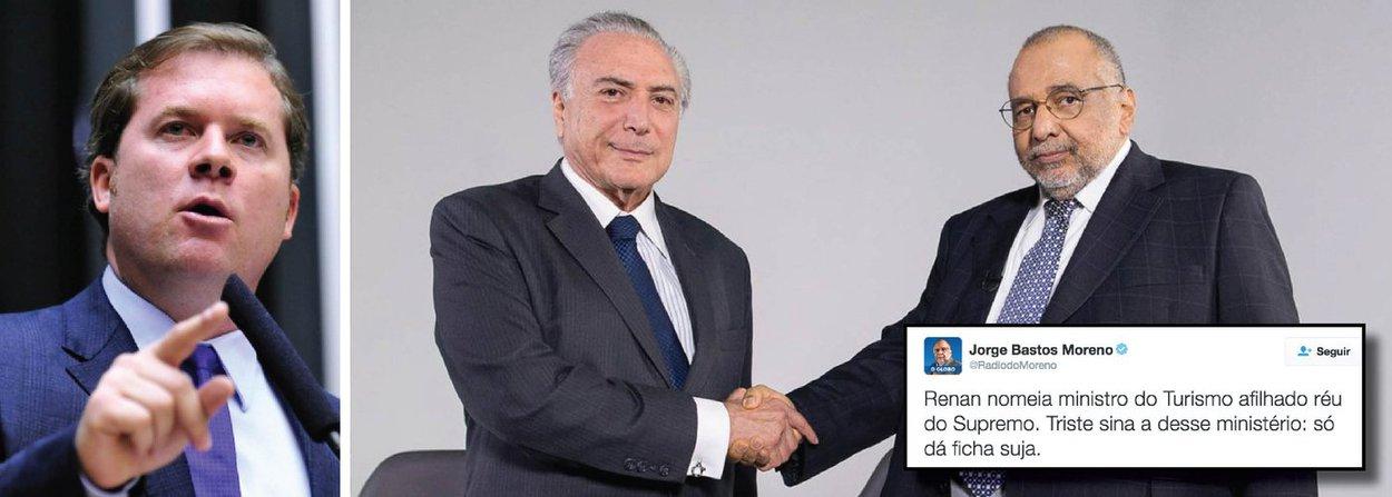 """Colunista Jorge Bastos Moreno, o jornalista mais próximo de Michel Temer, protestou nas redes sociais contra a nomeação do deputado Marx Beltrão (PMDB-AL), aliado de Renan Calheiros e réu no STF, para o ministério do Turismo; """"Triste sina a desse ministério: só dá ficha suja"""", publicou; para ele, """"o erro foi de Temer, que aceitou a indicação""""; """"Há mais de 10 dias que toda a mídia vem informando que o indicado de Renan é réu no STF. Temer, portanto, não pode dizer que não sabia"""", critica; """"Na hora que a imagem do governo começa a melhorar, vem o próprio presidente nomear um ficha suja para o ministério. Nunca vi isso!"""", postou ainda o jornalista, afirmando que """"Temer se revela teimoso como Dilma"""""""