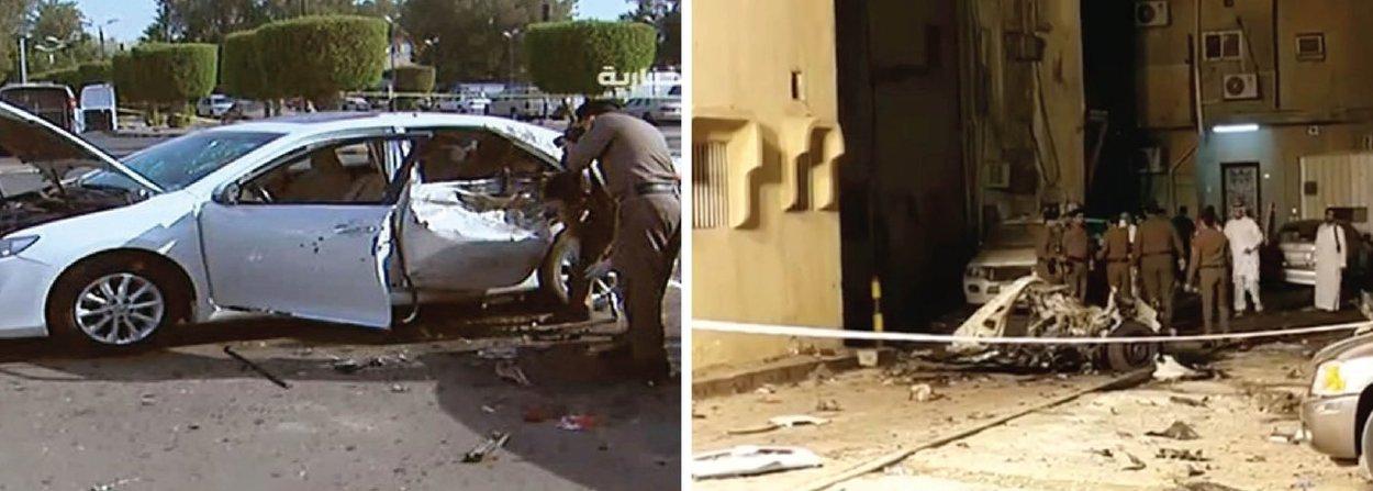 Atentados suicidas atingiram três cidades na Arábia Saudita nesta segunda-feira, 4, em ataques aparentemente coordenados; explosões tiveram como alvo diplomatas norte-americanos, fiéis xiitas e o centro de segurança de uma mesquita em Medina, cidade sagrada do Islã; televisão estatal saudita disse que um número inicial de mortos em Medina incluía os três homens-bomba e dois seguranças