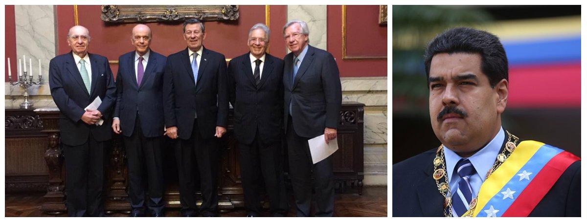 """Numa de suas primeiras missões internacionais, no Uruguai, o chanceler interino José Serra causou mal-estar ao pedir que os uruguaios não passem a presidência temporária do Mercosul à Venezuela, como preveem as regras do bloco; Serra levou a tiracolo o ex-presidente Fernando Henrique Cardoso e ambos pediram ao presidente Tabaré Vazquez que não ceda o posto a Nicolás Maduro; o pedido, no entanto, foi negado;""""Existe uma posição do Uruguai que compreendemos, que se tem de respeitar as regras"""", admitiu FHC; Serra pretendia aplicar a cláusula democrática à Venezuela, quando o próprio Brasil vem sendo contestado pela Unasul por ter levado adiante um golpe parlamentar contra a presidente eleita Dilma Rousseff"""