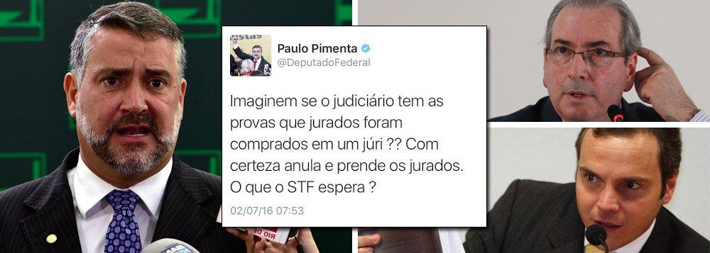 """O deputado Paulo Pimenta (PT-RS) avalia que a delação premiada de Lúcio Funaro, braço direito de Eduardo Cunha (PMDB-RJ), irá atingir entre 80 e 120 deputados, que tiveram suas contas de campanha e suas dívidas eleitorais pagas pelo operador do PMDB; """"isso vai demonstrar que o júri do impeachment foi comprado"""", afirma, fazendo referência aos deputados que votaram pelo impeachment no dia 17 de abril; segundo Pimenta, o Supremo Tribunal Federal não terá escapatória, a não ser anular o golpe, depois que ficar comprovado que Cunha pagava parlamentares; ele também avalia que o interino Michel Temer ainda tentará salvar seus aliados"""