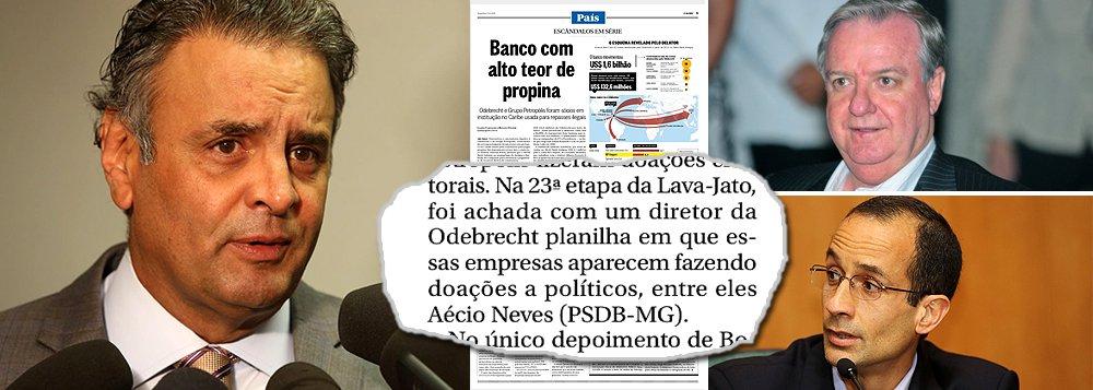 """Reportagem do jornal O Globo sobre o Meinl Bank, mantido no exterior pela Odebrecht, de Marcelo Odebrecht, e pelo grupo Petrópolis, de Walter Faria, para realizar pagamentos de natureza política aponta o nome do senador Aécio Neves (PSDB-MG) como um dos beneficiários; de lá, teriam saído os recursos para uma empresa chamada Leyroz, que doou R$ 1,6 milhão a Aécio e ao PSDB em 2010, quando ele concorreu ao Senado; caso apareceu quando foram apreendidas as planilhas da Odebrecht e volta agora à tona com a descoberta do que o Globo chama de """"banco com alto teor de propina"""""""