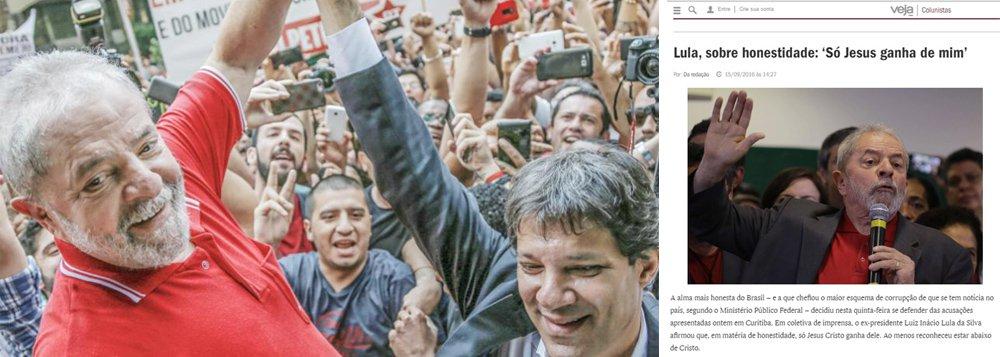 Pelo menos dois veículos, Veja e Folha de S. Paulo, deturparam a fala do ex-presidente, denuncia o Jornal GGN, do jornalista Luis Nassif; Lula não falou sobre honestidade quando citou Jesus Cristo; na verdade, falou em popularidade e perseguição; assista