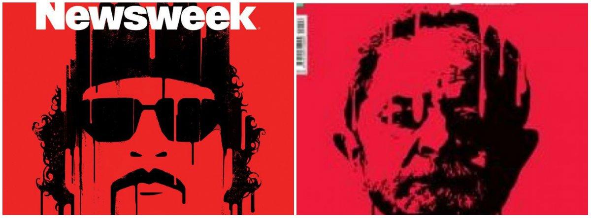 """Em mais um ataque ao ex-presidente Lula, a capa da revista Veja dessa semana traz uma estranha referência visual; a edição apresenta um fundo com vermelho estourado e o rosto de lula em tinta preta escorrendo, muito similar uma capa da revista norte-americana Newsweek de outubro de 2011, sobre a morte por linchamento do ex-ditador líbio Muammar al Gaddafi; professor Reginaldo Nasser, especialista em relações internacionais, diz que a capa da Veja busca induzir ao linchamento de Lula; """"Quem lincha e/ou induz ao linchamento tem nome bem preciso: fascista. Quem é conivente com isso idem"""", afirma"""