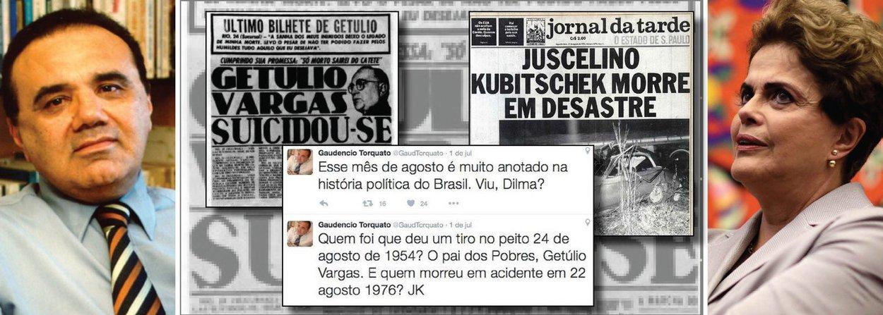 """Consultor político do presidente interino, o jornalista Gaudêncio Torquato causou polêmica ao postar no Twitter uma espécie de """"alerta"""" à presidente Dilma Rousseff em relação ao mês de agosto, mês previsto para ser votado o impeachment; """"Quem foi que deu um tiro no peito 24 de agosto de 1954? O pai dos Pobres, Getúlio Vargas. E quem morreu em acidente em 22 agosto 1976? JK. Esse mês de agosto é muito anotado na história política do Brasil. Viu, Dilma?"""", publicou Torquato; depois de ser metralhado pelos seguidores, ele disse que interpretar a frase como uma sugestão à morte de Dilma era coisa de """"petista radical""""; """"Lembrei que agosto é mês aziago na história brasileira! Apenas isso!!"""", rebateu"""