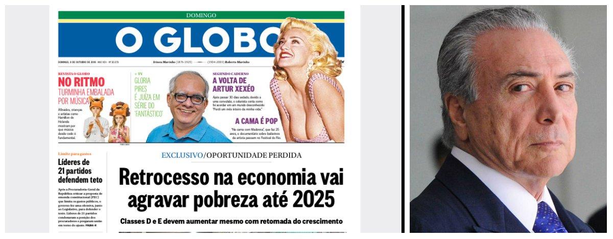 O processo de autodestruição do Brasil, iniciado em 2014, após a vitória de Dilma Rousseff nas eleições presidenciais, custará uma década de sacrifícios ao povo brasileiro; de acordo com a reportagem de capa do Globo, que contribuiu decisivamente para esse processo, pelo menos 1 milhão de famílias voltarão para as classes D e E nos próximos nove anos, recolocando o Brasil no mapa do pobreza; economia vem se deteriorando desde que o impeachment passou a ser a única agenda do País e, até agora, apesar das promessas Michel Temer e Henrique Meirelles, pouco se fez para estimular a volta do crescimento