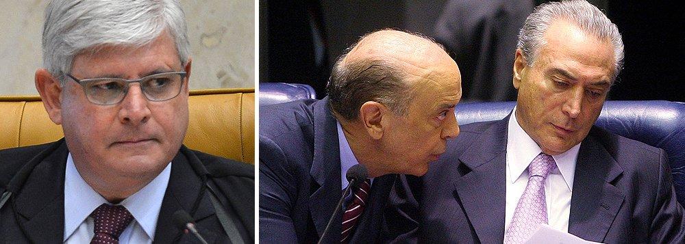 """No pedido de prisão do presidente do Senado, Renan Calheiros (PMDB-AL), do senador Romero Jucá (PMDB-RR) e do ex-presidente José Sarney (PMDB), que foi negado pelo STF, a partir das gravações feitas pelo ex-presidente da Transpetro Sérgio Machado, Rodrigo Janot afirma que as indicações do PSDB no governo interino faziam parte da """"solução Michel"""", que tinha objetivo de """"construir uma ampla base de apoio político para conseguir, pelo menos, aprovar três medidas de alteração do ordenamento jurídico em favor da organização criminosa"""": a proibição de acordos de colaboração premiada com investigados ou réus presos; a proibição de execução provisória da sentença penal e a alteração do regramento dos acordos de leniência"""