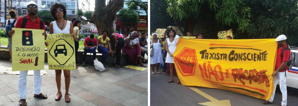 """O Coletivo de Entidades Negras de Salvador organizou nesta quarta (27) um ato contra o racismo policial e de taxistas na capital baiana em que foram denunciados casos como a detenção do jornalista e ativista negro Eduardo Machado, no dia 23 de junho; o grupo de ativistas seguiu em passeata até a Coordenadoria de Táxis e Transportes Especiais (Cotae) de Salvador, cantando palavras de ordem como """"taxistas racistas não passarão"""""""