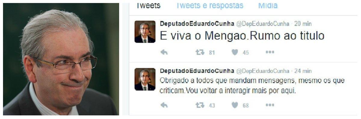 Após 6 dias da cassação do seu mandato e sem perspectiva ainda do julgamento das denúncias contra ele, o ex-deputado Eduardo Cunha voltou hoje às redes sociais, como se nada houvesse acontecido, livre leve e solto