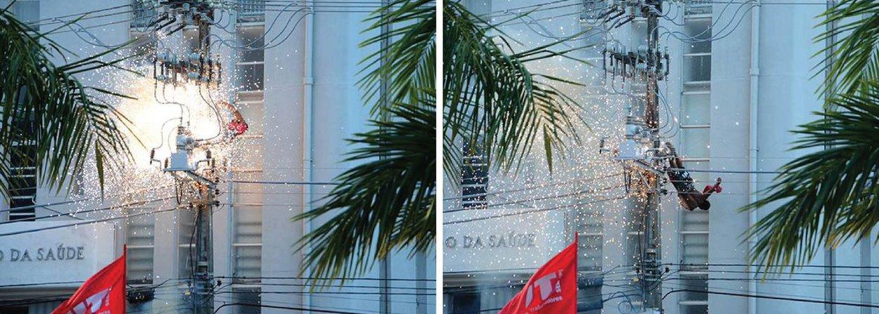 Um homem não identificado morreu, na tarde desta segunda (25), eletrocutado durante ato na Praça General Valadão, em Aracaju, que contou com a presença da presidente eleita Dilma Rousseff; o jovem, que, segundo testemunhas, era mendigo, aparentava ter menos de 30 anos; ele subiu no poste e, mesmo após apelos reiterados da organização do evento, se recusou a descer; após fazer diversos movimentos e continuar subindo na estrutura, ele levou um choque e caiu no chão; o Samu tentou reanimá-lo, mas ele faleceu a caminho do hospital
