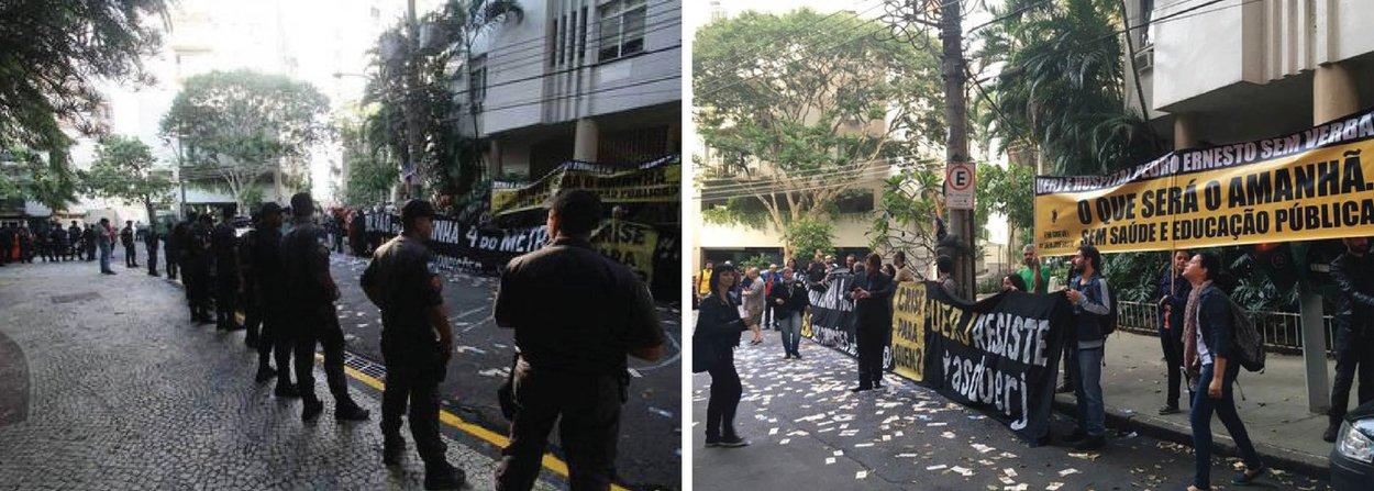 """Professores da Universidade Estadual do Rio de Janeiro (Uerj) fizeram um protesto em frente à casa do governador em exercício, Francisco Dornelles, no Jardim Botânico, na Zona Sul do Rio; com notas de R$ 100 e R$ 50 falsas, além de cartazes, os servidores cobraram os salários atrasados; a categoria está em greve há mais de três meses e pede um encontro com o chefe do executivo; """"Não tem arrego! Você tira o meu salário e eu tiro o seu sossego"""""""", gritavam os professores"""