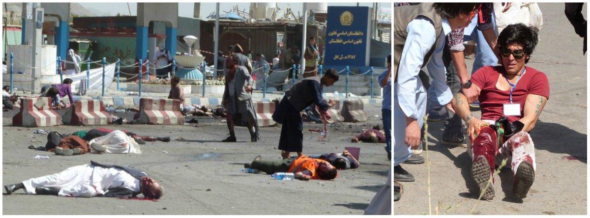 """Duas explosões rasgaram uma manifestação de membros da minoria afegã hazara, majoritariamente xiita, em Cabul, matando pelo menos 80 e ferindo mais de 230 em um ataque suicida reivindicado pelo Estado Islâmico; """"Dois soldados do Estado Islâmico detonaram cintos com explosivos em uma reunião de xiitas na cidade de Cabul, no Afeganistão"""", disse um breve comunicado da agência de notícias Amaq, que opera em território controlado pelo EI; se confirmada a autoria, o ataque representaria uma escalada do grupo, que até agora estava confinado à província de Nangarhar, no leste"""