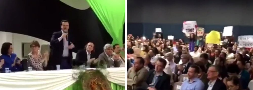"""Ministro interino de Ciência e Tecnologia e Comunicações foi vaiado com gritos de """"golpista"""" na noite deste domingo 3 pelos cientistas que participam da 68ª Reunião Anual da Sociedade Brasileira para o Progresso da Ciência, na Universidade Federal do Sul da Bahia, em Porto Seguro; assista ao vídeo"""