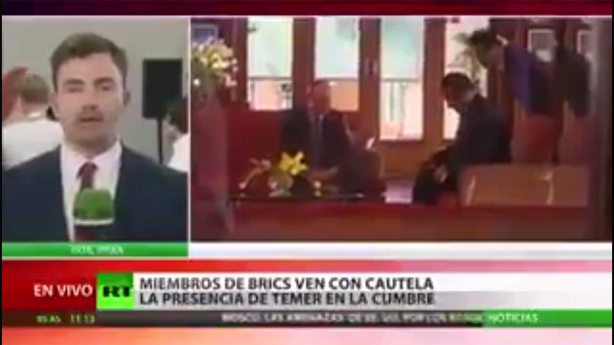 Principal veículo de comunicação da Rússia, o RT destacou em uma reportagem sobre a cúpula dos BRICS, que se reuniu na Índia neste fim de semana, que o presidente Vladimir Putin se reuniu com todos os presidentes do bloco, menos com Michel Temer; assista