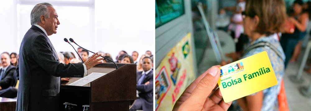 """Embora tenha chegado ao poder com o discurso de que colocaria as contas públicas em ordem, o interino ampliou o rombo fiscal e não tem parado de fazer """"bondades"""" durante sua fase de governo provisório; em cerimônia no Palácio do Planalto nesta quarta-feira 29, ele anunciou reajuste de 12,5% no Bolsa Família, mais que a inflação e que os 9% anunciados anteriormente pela presidente Dilma Rousseff; segundo ele, o aumento está de acordo com as condições econômicas do governo e """"não altera em nada a questão orçamentária""""; nesta terça, o Governo Central (Tesouro Nacional, Previdência Social e Banco Central) registrou o maior déficit primário da história para meses de maio: R$ 15,494 bilhões"""