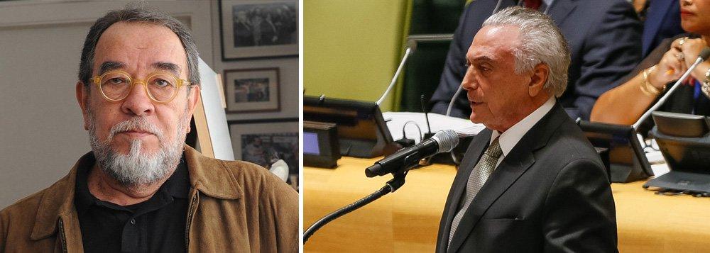 """Jornalista e escritor expõe a contradição do discurso de Michel Temer nesta segunda durante reunião sobre refugiados e imigrantes na ONU, em Nova York, onde defendeu que """"os países devem facilitar a inclusão, e não criminalizar a migração""""; """"Faltou ele revelar"""", lembra Morais, """"que uma das primeiras medidas de seu governo foi suspender as negociações iniciadas por Dilma com a EU para que o Brasil recebesse cem mil famílias de exilados sírios"""""""