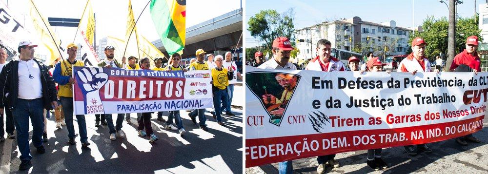 """As oito centrais sindicais que representam a quase totalidade dos movimentos sindicais brasileiros,com o apoio de diversos organizações sociais, realizaram mobilizações em diferentes pontos de Porto Alegre para marcar o Dia Nacional da Paralisações;Guiomar Vidor, presidente estadual da CTB, diz que """"em pleno século XXI, estamos vendo o governo trazendo de volta uma agenda da metade do século passado""""; """"Debates como jornada de trabalho de 60 horas semanais, 12 horas diárias, a flexibilização dos direitos trabalhistas que foram uma conquistas de 1943, através da Consolidação das Leis do Trabalho. Tudo isso está sendo ameaçado"""""""