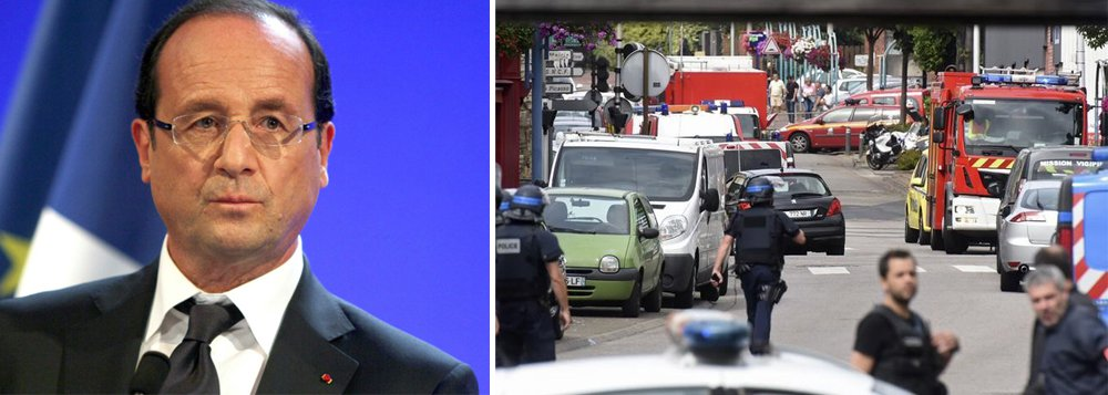 """Presidente da França, François Hollande, disse nesta terça-feira que os dois agressores que mataram um padre em uma igreja da Normandia, no norte da França, eram terroristas que haviam declarado aliança ao Estado Islâmico; """"O Estado Islâmico declarou guerra contra nós, precisamos lutar esta guerra de todas as maneiras, enquanto respeitamos o estado de direito, que nos torna uma democracia"""", completou"""