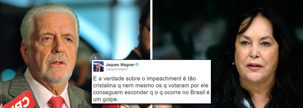 """Ex-ministro da Casa Civil da presidente eleita Dilma Rousseff, Jaques Wagner afirmou nesta segunda-feira, 27, que a confissão da senadora Rose de Freitas (PMDB-ES), líder do governo interino no Senado que disse que """"não teve esse negócio de pedaladas"""", só reforça que o que o há em curso no Brasil é um golpe; """"A verdade sempre aparece, nem que seja por vias tortas"""", disse Wagner em sua conta no Twitter; """"E a verdade sobre o impeachment é tão cristalina q nem mesmo os q votaram por ele conseguem esconder q o q ocorre no Brasil é um golpe"""", acrescentou"""