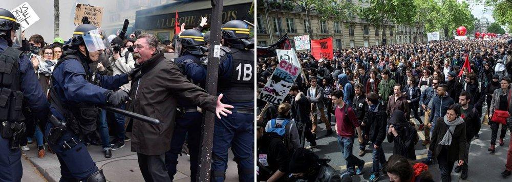 Polícia francesa proibiu uma manifestação em Paris, um dia antes de um protesto convocado por sindicatos trabalhistas com a presença esperada de dezenas de milhares de pessoas, criando um impasse que pode resultar em violência caso a marcha seja realizada; episódios de violência ocorridos às margens dos protestos vêm pressionando a polícia, que já está sobrecarregada pelo estado de emergência vigente no país desde os ataques de militantes islâmicos em Paris em novembro