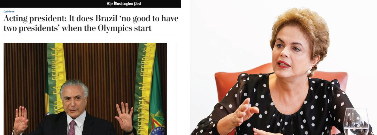 """Em entrevista ao jornal norte-americano """"The Washington Post', o presidente interino Michel Temer disse ser incapaz de dizer se a presidente eleita Dilma Rousseff se envolveu em esquemas de corrupção; """"Ela pode ter cometido erros administrativos, mas não a chamaria de corrupta'', afirmou; ele defendeu a legalidade do governo interino; """"Só existe golpe quando se viola a Constituição, e este não é o caso'', disse"""