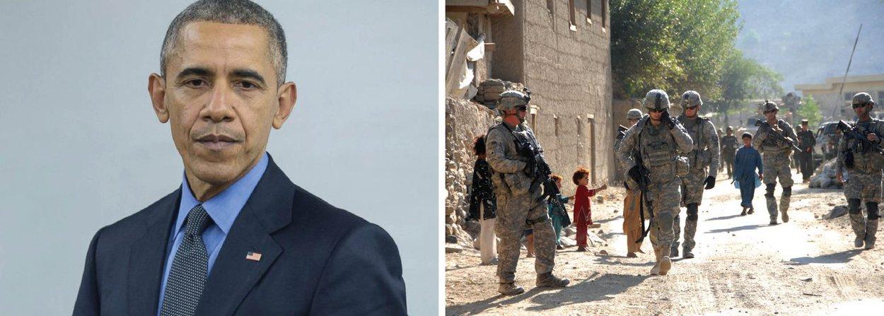 """Presidente dos Estados Unidos, Barack Obama, classificou de precária a situação de segurança no Afeganistão e anunciou que manterá em 8.400 o número de soldados norte-americanos no Afeganistão até o fim de seu governo, em vez de reduzir o efetivo para 5.500 soldados até o fim do ano; """"A situação de segurança no Afeganistão permanece precária"""", disse; """"O Taliban segue sendo uma ameaça. Eles ganharam terreno em alguns lugares"""", justificou Obama"""