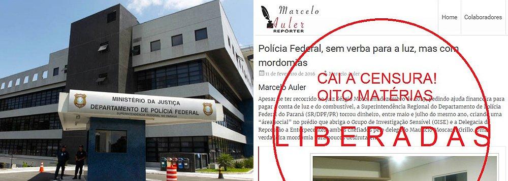 """Caiu a liminar que ajuíza Vanessa Bassani, do 12° Juizado Especial de Curitiba, concedeu em 5 de maio determinando a retirada de oito reportagens postadas no blog de Marcelo Auler sobre """"mordomias"""" do delegado Maurício Moscardi Grillo,impedindo de """"divulgar novas matérias com conteúdo capaz de ser interpretado como ofensivo ao reclamante, sob pena de adoção das medidas coercitivas pertinentes""""; o ordem foi interpretada como """"censura prévia"""" e gerou protestos no Brasil e no exterior, como mostramos nos últimos dias"""