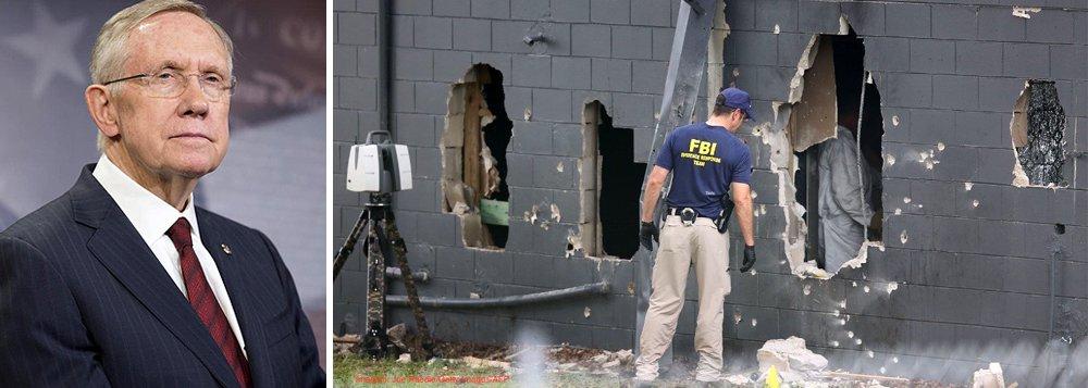"""Democratas norte-americanos pretendem exigir a votação de um projeto de lei que proíba a compra de armas e explosivos por indivíduos incluídos na lista de suspeitos de terrorismo, declarou o líder do Partido Democrata no Senado, Harry Reid; """"Temos a intenção de acelerar a votação sobre o tema, não há nenhuma desculpa para que os supostos terroristas possam comprar armas"""", afirmou; se a norma tivesse sido aprovada, segundo os democratas, teria sido possível evitar a tragédia em Orlando que resultou na morte de 50 pessoas e 53 feridos"""