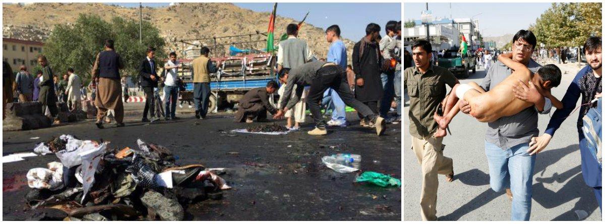"""Em nota, o Ministério das Relações Exteriores afirmou que """"o governo brasileiro recebeu com consternação a notícia de mais um atentado em Cabul, na manhã de hoje, reivindicado pelo Estado Islâmico, durante uma manifestação pacífica, e que teria feito mais de 80 mortos"""";""""O Brasil apóia firmemente os esforços do governo do Afeganistão no sentido de conter atos de violência sectária. Tais esforços terão reflexos importantes para a estabilidade de toda a região"""", finaliza a nota; o Estado Islâmico reivindicou a autoria do ataque"""