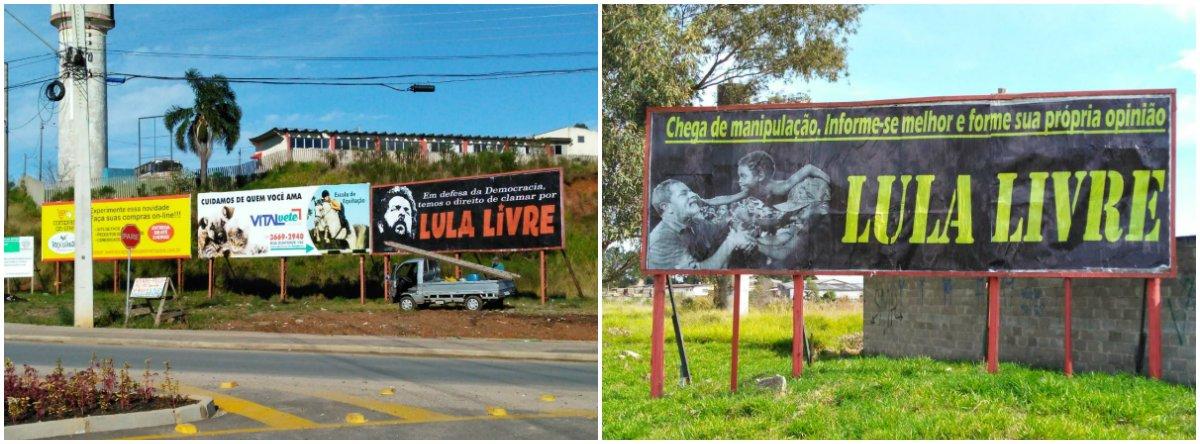 Nove outdoors defendendo a liberdade do ex-presidente Lula foram instalados nesta quinta-feira 28 em oito cidades da Região Metropolitana de Curitiba;a expectativa dos envolvidos é que a iniciativa sirva de exemplo para que ocorra em diversas cidades do país