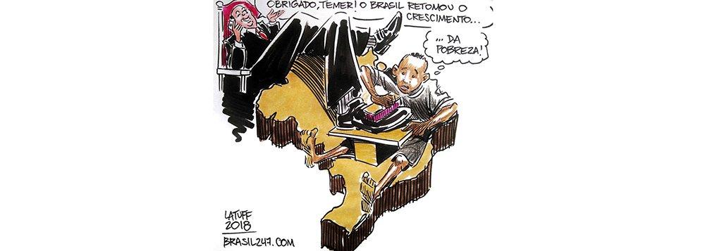 """O chargista Carlos Latuff destaca, em seu novo trabalho para o 247, o retrocesso provocado pelo governo Temer, e contradição com o discurso pregado pela equipe econômica, de """"retomada"""" do crescimento"""