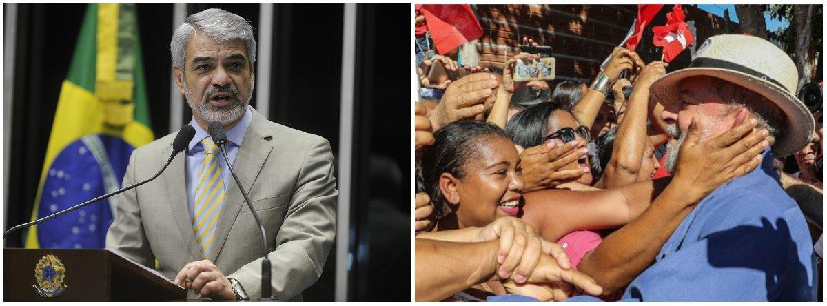 """Após a pesquisa Ibope apontar o ex-presidente Lula como líder isolado, com 33% dos votos, o líder da Oposição no Senado, Humberto Costa (PT), também disse que seu correligionário é """"um líder preso, condenado sem provas, impedido de fazer campanha"""""""