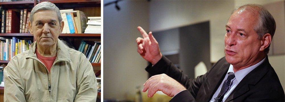 """""""Sempre que perguntado se é a favor da Lava Jato o pré-candidato Ciro Gomes responde com um peremptório 'sim'"""", escreve o cientista político Wanderley Guilherme dos Santos em seu blog; para ele , """"seu peremptório 'sim' à Lava Jato é inaceitável sem maiores explicações""""."""