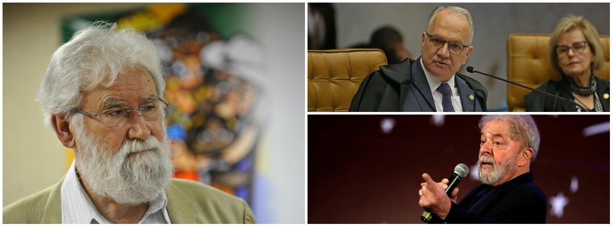 """Após o ministro do STF Edson Fachin arquivar o pedido de liberdade de Lula, oteólogo e escritor Leonardo Boff disse que o ministro""""deve ser analisado psiquicamente: não sabe distinguir um ladrão correndo com mala cheia de dinheiro de um Lula, preso político, contra o qual não se apresentou nenhuma conta aqui ou fora com dinheiro roubado. Onde está o seu juízo?""""; enquanto isso, Fachin mandou soltar o ex-deputado Rodrigo Rocha Loures, flagrado recebendo uma mala com R$ 500 mil em propina da JBS"""