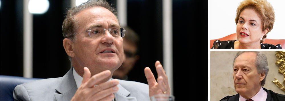 O presidente do Senado, Renan Calheiros (PMDB-AL), na tarde desta segunda-feira (18) com o presidente da Câmara dos Deputados, Eduardo Cunha (PMDB-RJ), para receber a autorização dada pelos deputados para instauração de procedimento de impeachment contra a presidente Dilma Rousseff; após receber o processo, Renan se reunirá com Dilma e, na sequência, com o presidente do STF, Ricardo Lewandowski
