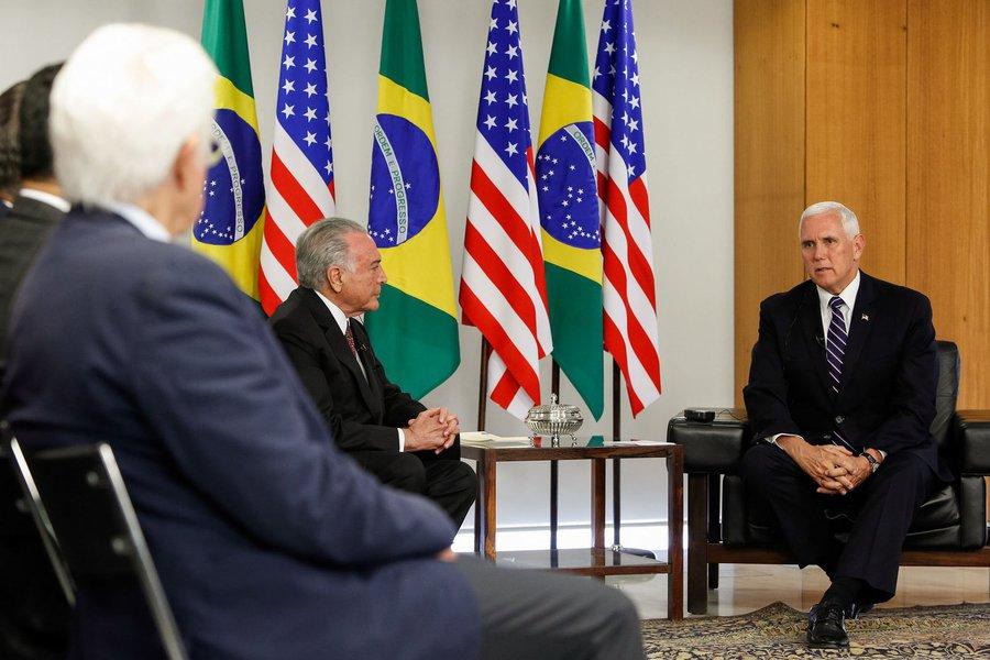 (Brasília - DF, 26/06/2018) Visita do Vice-Presidente dos Estados Unidos, Mike Pence. em visita ao Brasil é recebido por Michel Temer