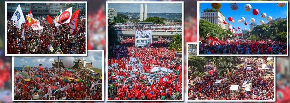 Em Brasília, 200 mil pessoas em defesa da democracia ocupam a Esplanada dos Ministérios, segundo estimativa dos Jornalistas Livres; no Rio de Janeiro, habitantes das comunidades desceram para um dos maiores bailes funk da história de Copacabana; em Salvador, a manifestação foi no Farol da Barra; em São Paulo, no Vale do Anhangabaú, com apoio de movimentos sociais, como aCentral Única dos Trabalhadores (CUT), o Movimento dos Trabalhadores Sem Teto (MTST) e a Central de Movimentos Populares (CMP)