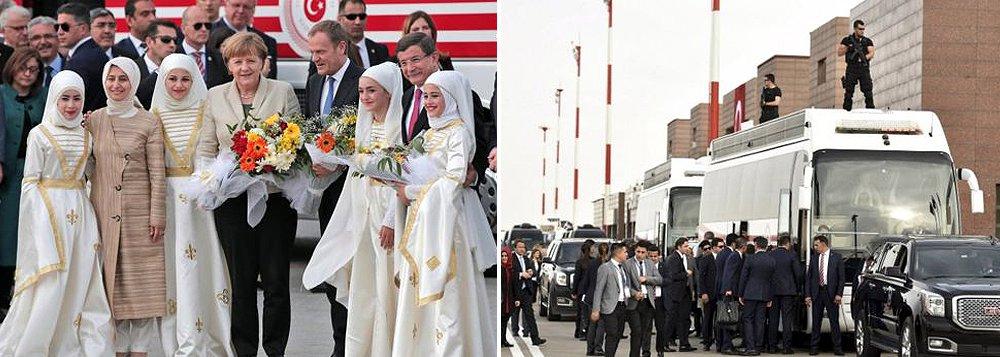 A chanceler alemã, Angela Merkel, chegou a uma província turca neste sábado para se encontrar com o primeiro-ministro turco Ahmet Davutoglu, em meio aos esforços para aliviar as tensões provocadas por uma crise migratória; há três semanas, Merkel pediu que líderes europeus apoiassem um acordo para devolver milhares de imigrantes das ilhas gregas para a Turquia; mas as dúvidas sobre a eficácia, viabilidade a longo prazo e legalidade da proposta têm crescido
