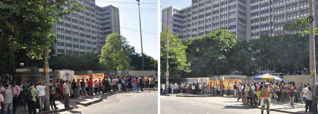 Grevistas interditaram as entradas da Universidade do Estado do Rio de Janeiro (Uerj)com o objetivo de mobilizar servidores para um protesto marcado para esta tarde; a categoria também está revoltada com o atraso no pagamento dos salários de pensionistas e aposentados, que receberão o salário de março apenas no dia 12 de maio