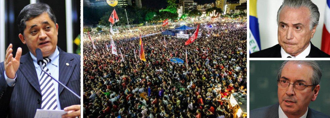 """Em entrevista ao 247, o líder do governo na Câmara, deputado José Guimarães (PT-CE), alerta para a guerra de informações que vem sendo conduzida na casa para criar um clima de """"fato consumado""""; segundo ele, a oposição partiu para o desespero por não ter os apoios necessários para o golpe; """"eles sabem que não têm os votos e estão vendo a sociedade se levantar em defesa da democracia""""; ontem, mais de 50 mil pessoas participaram de um ato em defesa da legalidade no Rio de Janeiro; """"o golpe Temer-Cunha será derrotado no plenário e nas ruas"""""""