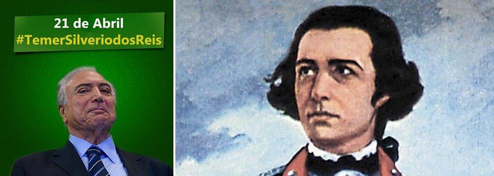 """O PT utilizou a data desta quinta-feira, 21 de abril, dia em que se celebra a morte do mártir da Inconfidência Mineira, para denunciar a """"traição"""" do vice-presidente Michel Temer (PMDB) em relação a presidente Dilma Rousseff; por meio das redes sociais, o PT compara Temer ao delator Joaquim Silvério dos Reis, que traiu os participantes do levante no século XVIII e que resultou na morte por enforcamento de Tiradentes; """"Em 21 de abril de 1792, Joaquim Silvério dos Reis traía os revoltosos e Tiradentes, mártir da Inconfidência Mineira. Em 2016, Michel Temer trai a democracia brasileira e os mais de 54 milhões de eleitores que votaram em Dilma Rousseff"""", diz um dos textos"""