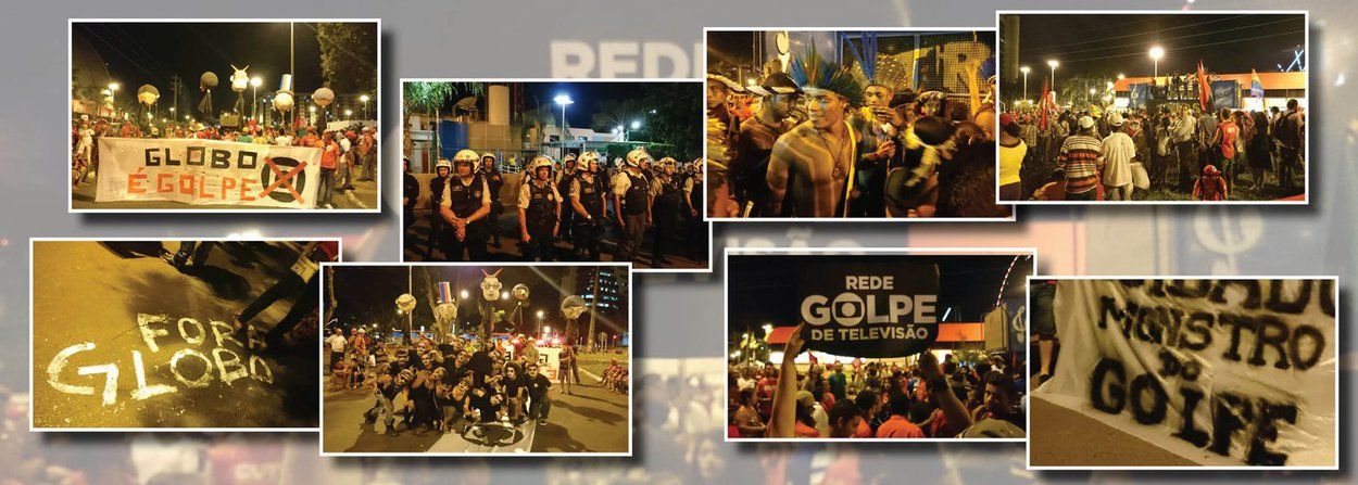 O Levante Popular de Juventude e o Movimento dos Trabalhadores Sem Terra realizaram na noite desta terça (12) um protesto em frente à sede da Globo em Brasília; com palavras de ordem contra o golpe e com críticas à emissora, o ato reuniu centenas de pessoas
