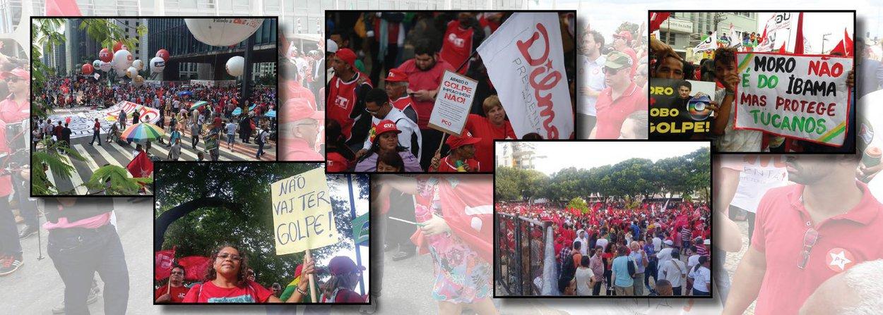 """Milhares de manifestantes protestam pela democracia, a favor do mandato da presidente Dilma Rousseff e em apoio ao ex-presidente Lula em diversas cidades do país; na Avenida Paulista, em São Paulo, manifestantes empunham bandeiras do PT e movimentos sociais no vão-livre do Masp; três carros de som estão nas proximidades; no Rio, manifestantes pedem a saída de Eduardo Cunha da presidência da Câmara; ao todo, há protestos contra o impeachment em 22 estados, reunindo mais de 1,2 milhão de pessoas, segundo os organizadores; presença de Lula é esperada na capital paulista; o que mais se ouve nas manifestações é: """"não vai ter golpe, não vai ter golpe"""""""