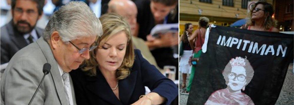 """Senador Roberto Requião (PMDB-PR), tal qual Gramsci, se diz um pessimista no prognóstico e otimista na ação; """"Hoje, Dilma está praticamente cassada pelo Congresso"""", avalia; ele diz que falta """"mexer na economia"""" para barrar o golpe em curso no país; """"Tudo o que vi até agora favorece o rentismo e ferra capital produtivo e trabalho. Que tal um projeto para mudar o Brasil?""""; já a senadora Gleisi Hoffmann (PT-PR) discorda do colega de parlamento acerca dos motivos do golpe: """"o problema é político, pois já fizemos ajustes para garantir a execução dos programas sociais"""""""