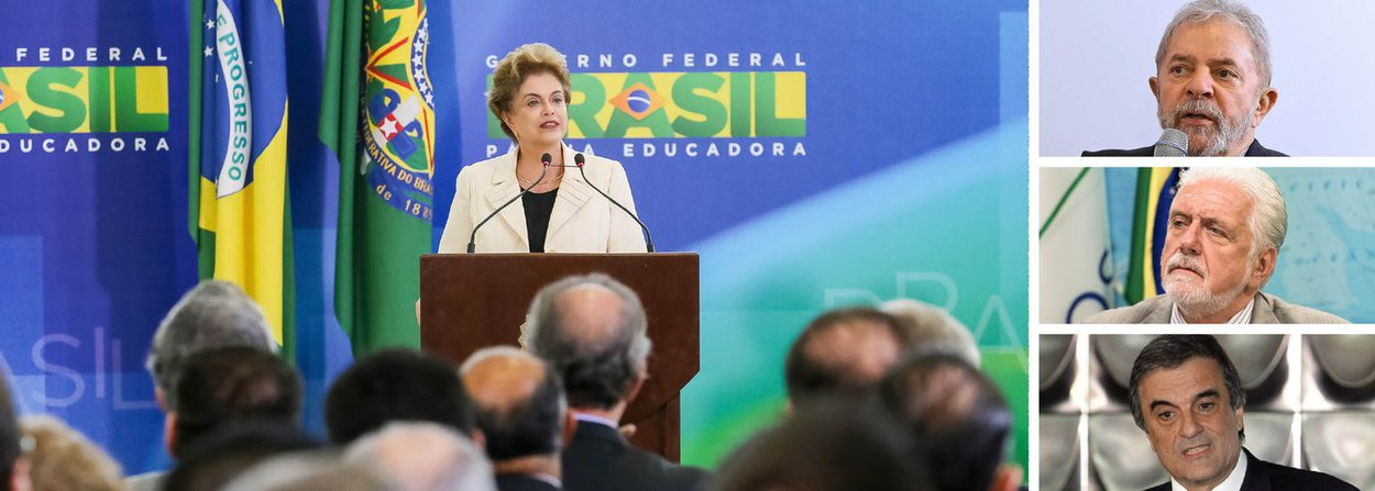A presidenta Dilma Rousseff está reunida neste momento, no Palácio da Alvorada, com o ex-presidente Luiz Inácio Lula da Silva, que tomou posse como ministro-chefe da Casa Civil; em caráter temporário, porém, a posse de Lula está suspensa por liminar de um juiz federal; além de Dilma e Lula, estão na residência oficial o AGU, José Eduardo Cardozo, e o novo ministro da chefia de Gabinete Pessoal da presidenta, Jaques Wagner, que deixou a Casa Civil