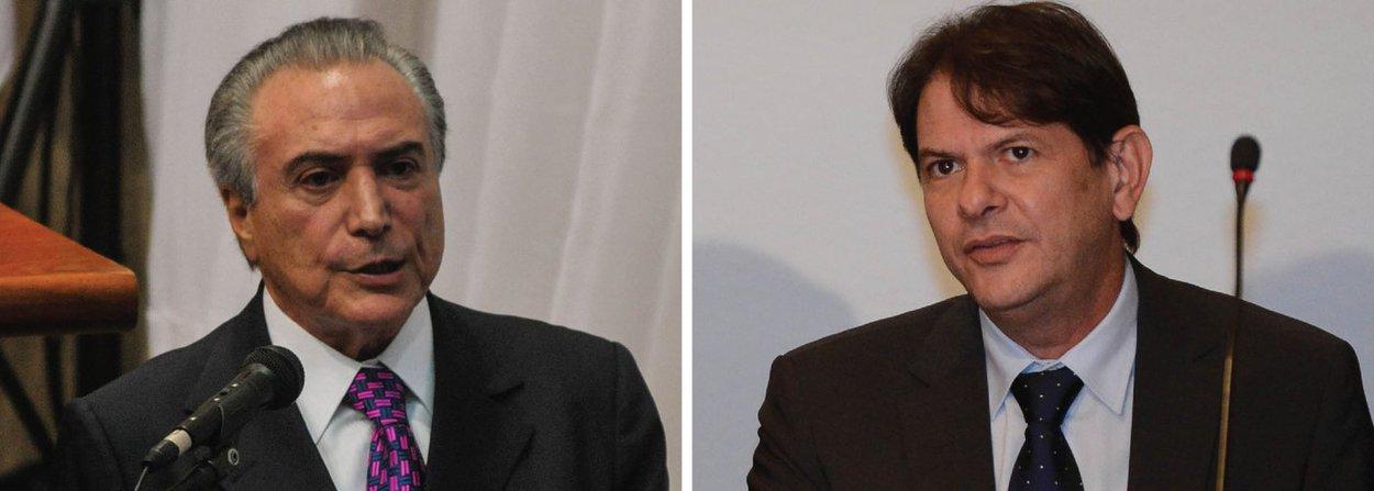 """Vice-presidente da República e o PMDB ingressaram com uma representação criminal na Justiça Federal de Brasília contra o ex-governador e ex-ministro, acusando-o de ter cometido os crimes de calúnia, injúria e difamação; ação foi protocolada no dia 5 de novembro; durante convenção do PDT no dia 17 de outubro, quando se filiou à legenda, Cid Gomes chamou Michel Temer de """"chefe da quadrilha de achacadores que assola o Brasil"""""""