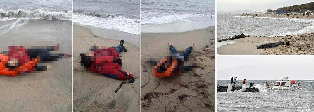 Corpos, incluindo três crianças, foram localizados nesta terça-feira na costa turca do mar Egeu após o barco em que estavam aparentemente naufragar durante tentativa de alcançar a ilha grego de Lesbos